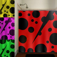 red ladybug shower curtain bathroom decor fabric kids bath white black custom duvet cover rug mat window
