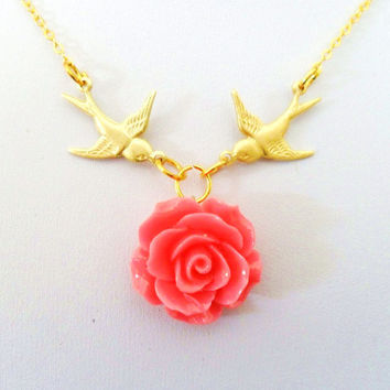 Love Necklace, Harry Necklace, Swallow Necklace, Tattoo Necklace, Gold Birds Coral Pink Flower Rose Rockabilly Sailor Vintage Styles