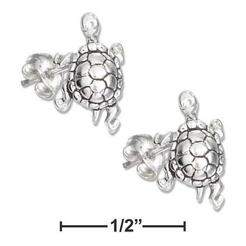 Sterling Silver Earrings:  Mini Turtle Earrings On Stainless Steel Posts And Nuts