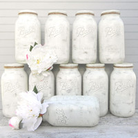 Half Gallon Mason Jars, in Shabby Chic Ivory White for Weddings, Showers, Home Decor