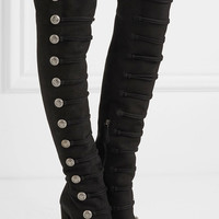 Aquazzura - Rasputine embellished suede over-the-knee boots