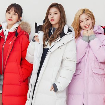 TWICE Beanpole Sport 18FW Unisex White B.Bench Duck down Bench Down Long Padding Jackets
