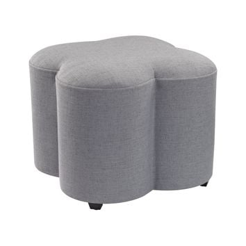 Grey Linen Quatrefoil Stool Grey