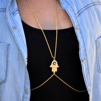 The hand of Fatima necklace Diamond finger citron body chains