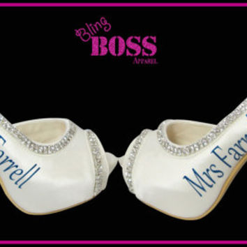 Wedding Heels Ivory Bridal High Heels Shoes Mrs New Last name Personalized Peep Toe Satin Rhinestone Bling Pumps Bride Gift Bling Stiletto