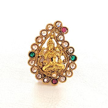 Mango shaped Goddess Lakshmi center Traditional adjustable Finger ring