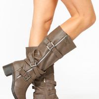Bamboo Taupe Faux Leather Biker Boots