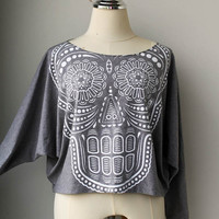Skull sweatshirt , Skull sweater , Skull Pullover Oversize style Long Sleeve Bat Wing Style Half Body In Grey.