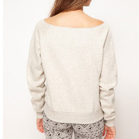 Cute Deer Print Wide Round Neck Top