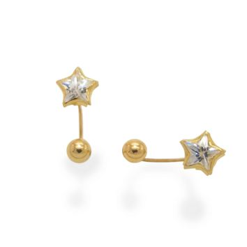 Star Telephone Earrings 14K Solid Yellow Gold
