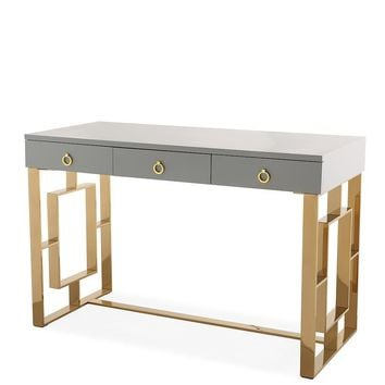 Audrey Grey Lacquer Desk Gold