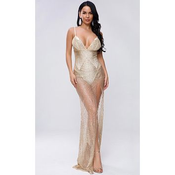 Jump To Conclusions Gold Sheer Mesh Glitter Geometric Pattern Sleeveless Spaghetti Strap V Neck Maxi Dress