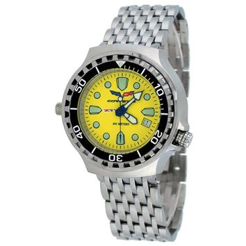 Corvette CR285YL Men's Z06 Collection Stainless Steel Yellow Dial Swiss Dive Watch