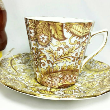Vintage Rosina Paisley Teacup and Saucer/Fine Bone China Teacup and Saucer/Made in England Cup