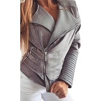 Coat Check Faux Leather Sued Long Sleeve Asymmetric Zip Buckle Outerwear Motorcycle Jacket - 7 Colors Available