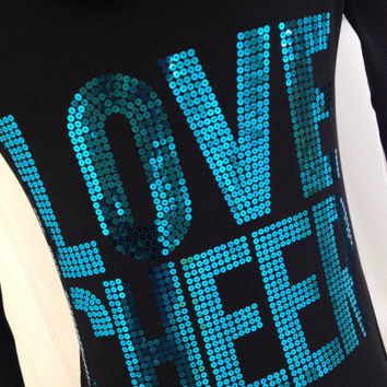 Love Cheer Aqua Blue Sequin Hoodie Jacket