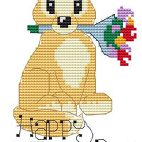 Cute Fox Cross Stitch Kit ' Fox Glove loves Mothers Day - Mothers day gift