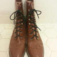 Women's Lace Up Roper Granny Cowboy Western Paddock Boots Size 8 D
