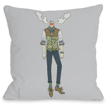 """Antler Man"" Indoor Throw Pillow by Michael Sanderson, 16""x16"""