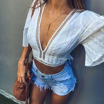 Fashion Women Boho Beach Summer Mesh Lace up Loose Casual short sleeve Crop Vest blusas Tops Ladies Sexy Femme Midriff Blouse
