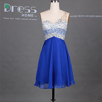 New 2014 Silver Blue Sweetheart One Shoulder Chiffon Knee Length Homecoming Dress/Sexy Open Back Mini Party Dress/Cheap Cocktail Dress DH238