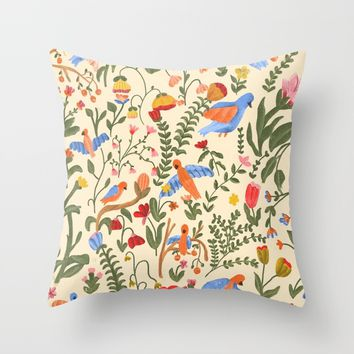 Tropical Garden Pattern Throw Pillow by chotnelle
