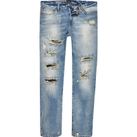 River Island MensLight wash distressed Dylan jeans