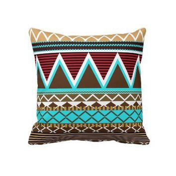 Brown & Turquoise Tribal Pillow from Zazzle.com