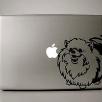 "Pomeranian Happy Smiling Dog Breed - Black Decal for 13"" Macbook"