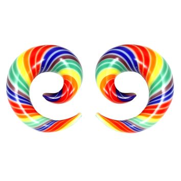 BodyJ4You Glass Spiral Multicolor Rainbow Curved Ear Gauge 6G-14mm Piercing Jewelry