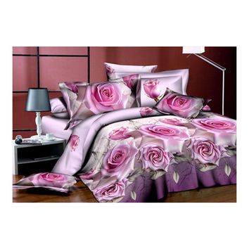 3D Flower Queen King Size Bed Quilt/Duvet Sheet Cover 4PC Set Cotton Sanded 007