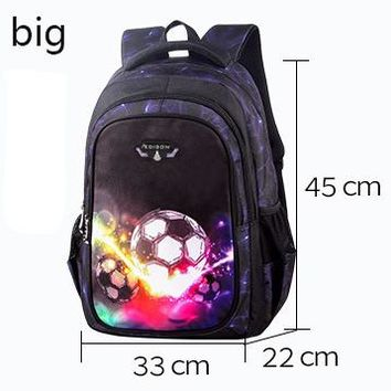 Cool Backpack school Printing Backpacks Little Boys Soccers School Bags for Kids Cool Lightweight BackPack for Children Traveling Bookbags AT_52_3