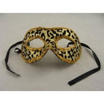 "7"" Gold and Black Big Cat Animal Print Halloween Mask with Sequins and Glitter"