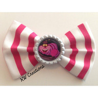 Alice in Wonderland Cheshire Cat Disney Inspired Handmade Fabric Hair Bow