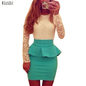 Style Long Sleeve Women Patchwork O Neck Slim Bodycon Sexy Lace Cocktail Party Peplum Flounce Pencil Dress Vestidos