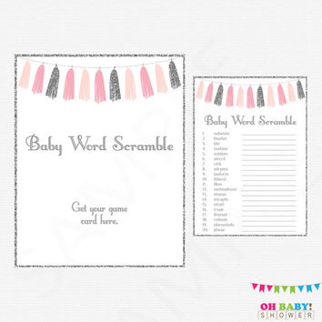 Pink and Silver Baby Shower, Baby Word Scramble, Pink and Silver Tassels, Pink and Gray Baby Shower, Girl Baby Shower Game, Printable, TASPS