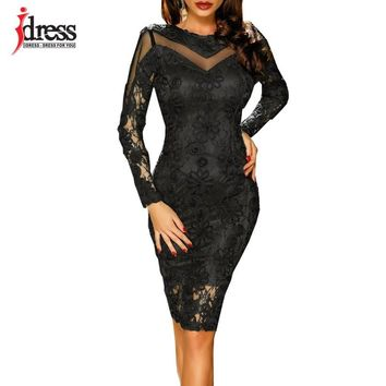 IDress Runway Design Women Embroidery Lace Dresses Long Sleeve Knee Length Sexy Dress 2018 Winter Bodycon Pencil Office Dresses
