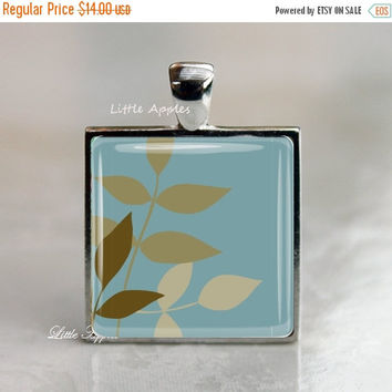 ON SALE light turquoise necklace or keychain, brown leaves, nature, art pendant