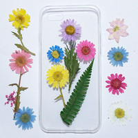 Daisy iphone 5s case, iphone 5s case clear, pressed flower iphone 5s case, real flower samsung galaxy s6 case, dried flower galaxy s5 case