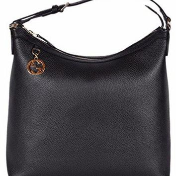 Gucci Women's Leather GG Charm Purse Hobo Handbag (Black/449771)