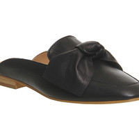 Office Dance Bow Mule Black Leather - Flats