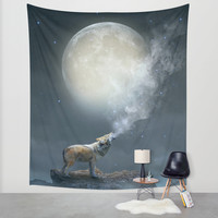 The Light of Starry Dreams (Wolf Moon) Wall Tapestry by Soaring Anchor Designs