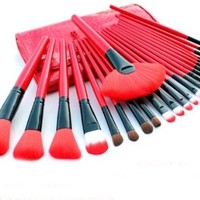 Emylike Makeup Brushes- Studio Quality Makeup Brushes Set 24pcs Professional Powder Eyeshadow Eyeliner Lip Brush Tool with Leather Pouch, 24 Count (Red)
