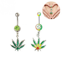 Marijuana Weed Leaf Cannabis Rhinestone Barbell Navel Belly Button Ring Body Piercing
