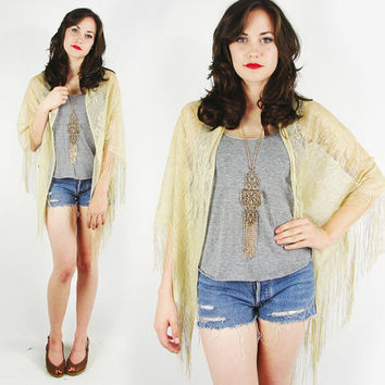 vtg 90s 70s boho hippie gypsy beige SHEER floral LACE cut out FRINGE draped shawl wrap cape jacket top S M L