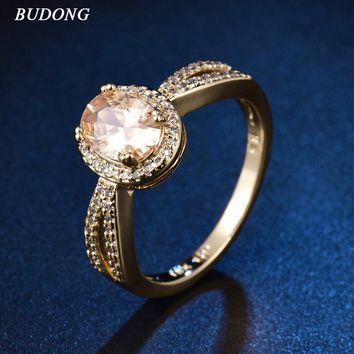 BUDONG 2017 Beautiful Halo Ladies Finger Band  Gold Color Ring for Women Oval Orange Crystal Zircon Engagement Jewelry XUR343