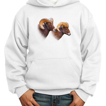 Two Majestic Bighorn Rams Youth Hoodie Pullover Sweatshirt