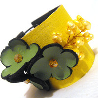 Leather yellow floral bracelet Leather cuff by julishland on Etsy