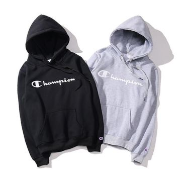 Tide brand champion Hooded sweater plus cashmere hooded sweater simple printing class clothes lovers