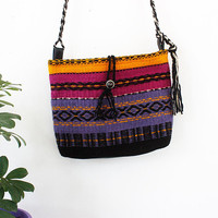 Unique hippie/gypsy/free spirit colorful handmade handbag, handwoven boho crossbody bag, handmade boho purse